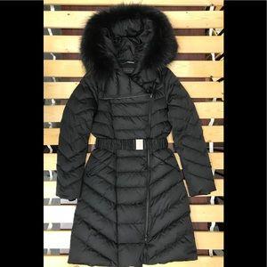 🌹Elie tahari down coat with real raccoon fur trim